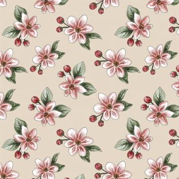 Tecido Digital Nude Apple Blossom (Coleção Anita Catita Red Blossom)