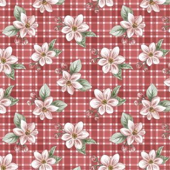 Tecido Digital Red Apple Blossom (Coleção Anita Catita Red Blossom)