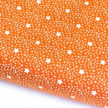 Tecido Estrelado Cenoura (Coleção Estrelinhas Basics & Colors)
