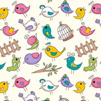 Tecido Mini Birds Creme (Coleção Fofurices)