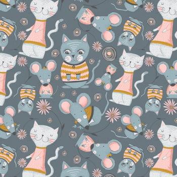 Tecido Kitty Garden Cinza (Coleção Kitty Garden)