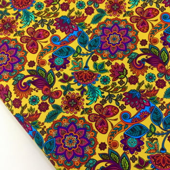 Tecido Digital Mandalas Cigana Floral Fd Amarelo