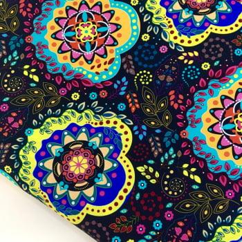 Tecido Digital Mandalas Cigana Floral Fd Marinho