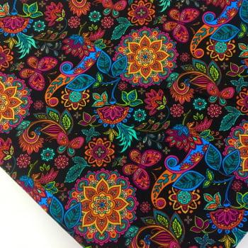 Tecido Digital Mandalas Cigana Floral Fd Preto