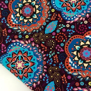 Tecido Digital Mandalas Cigana Floral Fd Uva