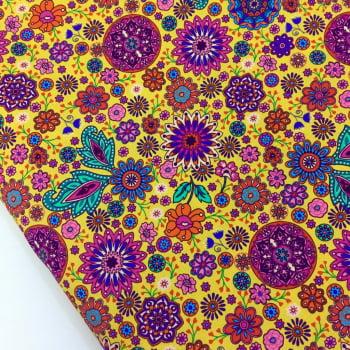 Tecido Digital Mandalas Cigana Pequena Fd Amarelo