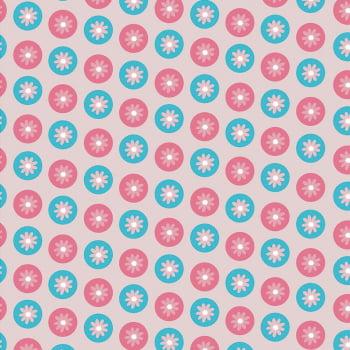 Tecido Flores Modernas Rosa