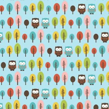 Tecido Corujas e Árvores Azul