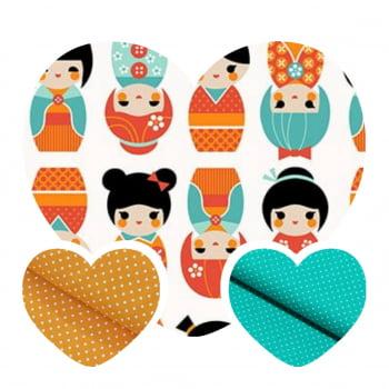 Kit de Tecidos Bonequinha Japonesa Laranja (3 Cortes de 50x1,50)