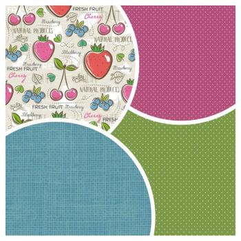 Kit de Tecidos Fresh Fruit + Micro Poá Pink + Linho Azul + Micro Poá Verde (4 Cortes de 50x1,50)