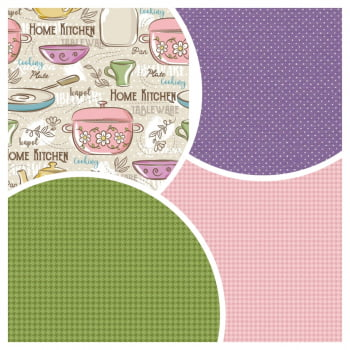 Kit de Tecidos Home Kitchen + Micro Poá Lilas + Pied Grama + Pied Rose (4 Cortes de 50x1,50)