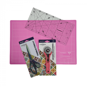 Kit para Iniciante na Costura Criativa ou Patchwork (Base Rosa 30x45)
