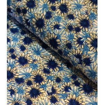 Cetim Dublado Floral Azul