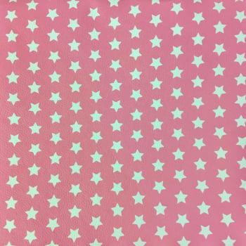 PVC Estrelas Branca Fd Rosa