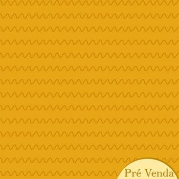 Tecido Ondas Mostarda (Coleção Monstrinhos)
