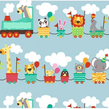 Retalho Tecido Animal Train (50x36cm)