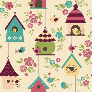 Tecido Casas de Passarinhos Rosa