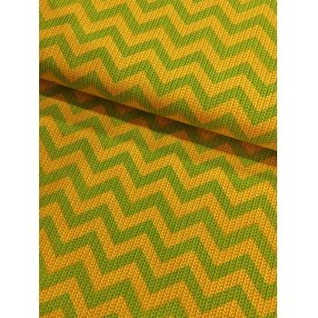 Retalho Tecido Trico Chevron Verde e Amarelo (60x34cm)