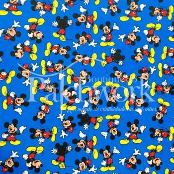 Tecido Mickey Mouse Fd Azul