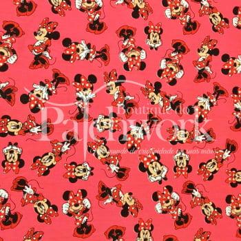Tecido Minnie Mouse fd. Rosa
