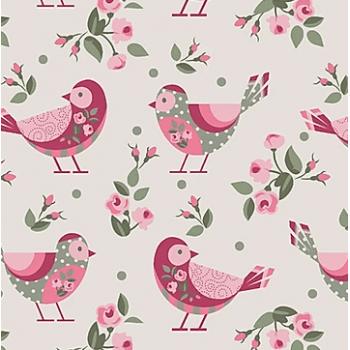 Tecido Pássaros Fundo Bege