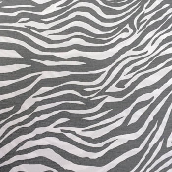 Tecido Animal Print Zebra Cinza com Branco