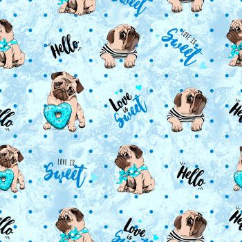 Tecido Digital Cachorro Pug Fd Azul