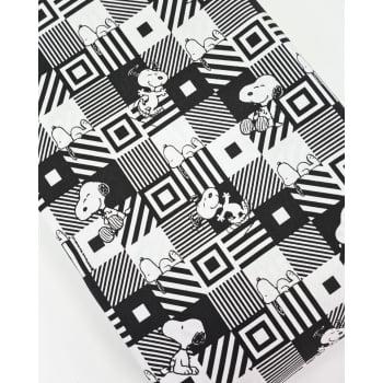 Tecido Snoopy Geometrico Preto e Branco