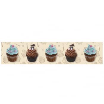 Faixa Digital Pano de Copa Ref 7034 Cupcake Fd Bege