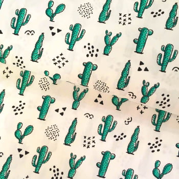 Tecido Cactus Fd Branco
