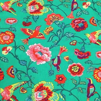 Tecido Floral Eden com Pássaros Fd Verde