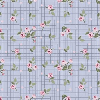Tecido Mini Floral Pássaros Lavanda