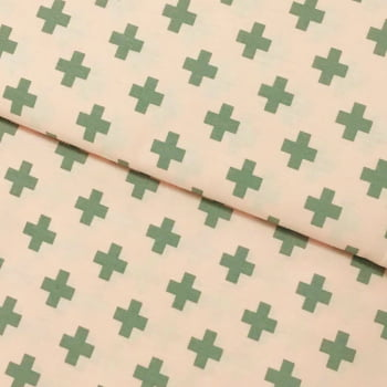 Tecido Geometrico Plus Cinza Fd Rosa