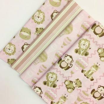 Kit de Tecidos Bichinhos Baby Rosa K006