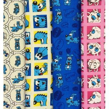 Kit de Tecidos  Bidu e Mingau K024
