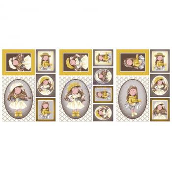 Tecido Painel Boneca Puppe Amarelo