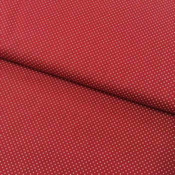 Tecido Micro Poá Branco Fd Vermelho Queimado