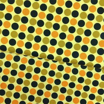 Tecido Bolas Multicolor Fd Amarelo
