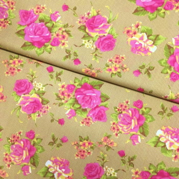 Tecido Bouquet de Rosa Bege