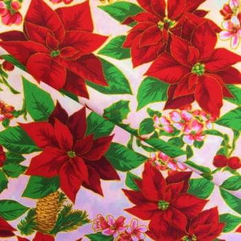 Tecido Floral do Natal Fd Bege