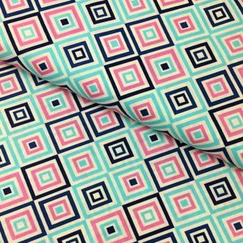 Tecido Geométrico Losango Tiffany e Marinho