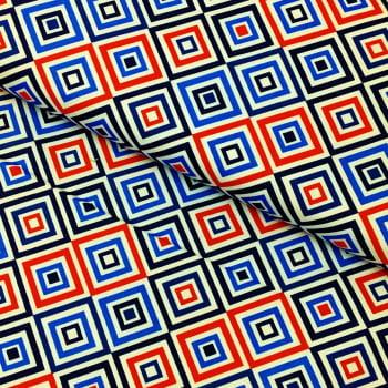 Tecido Geométrico Losango Vermelho e Marinho