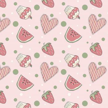 Tecido Mini Morangos e Cupcakes Rosa