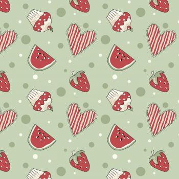 Tecido Mini Morangos e Cupcakes Verde