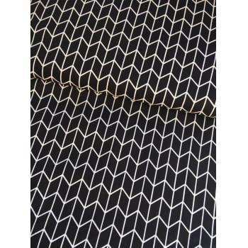 Tecido Monochrome Chevron Preto